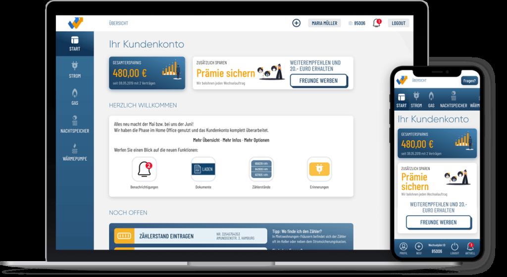 Das Bild zeigt die Desktop- und Mobil-Vorschau des Wechselpilot-Kundenkontos.