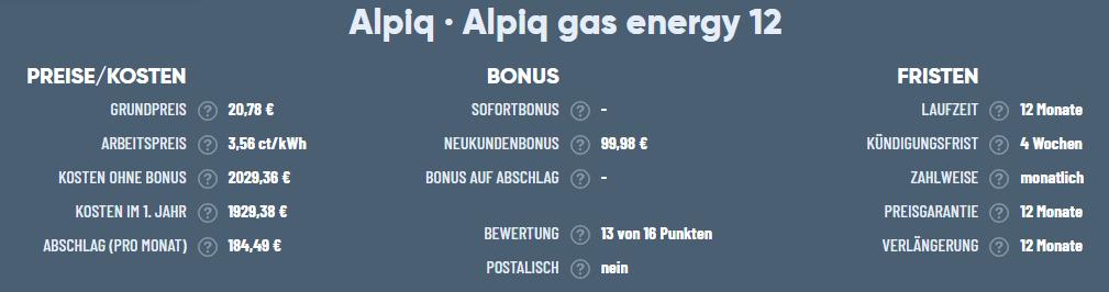 Zu sehen ist der Alpiq gas energy 12 Tarif von Alpiq Energy.